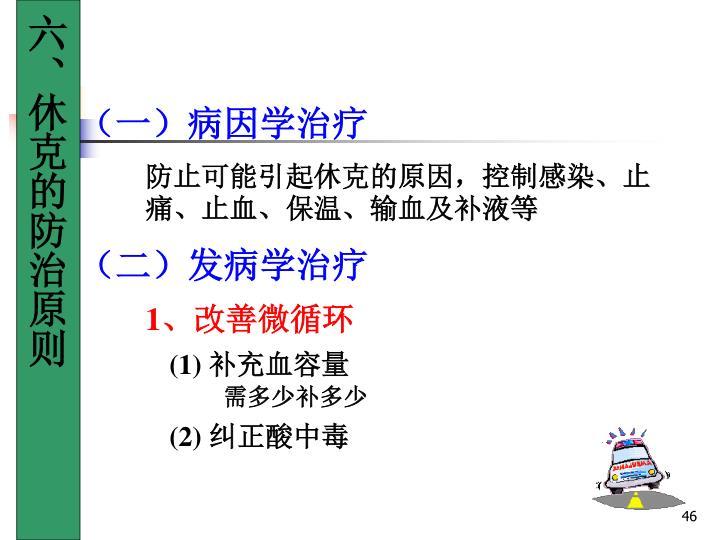 六、休克的防治原则
