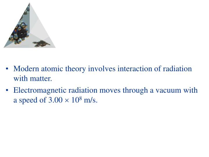Modern atomic theory involves interaction of radiation with matter.