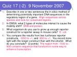 quiz 17 2 9 november 2007