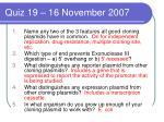 quiz 19 16 november 2007