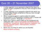 quiz 20 21 november 2007