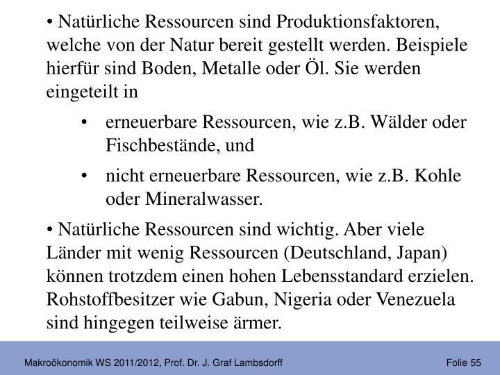 Natürliche Ressourcen sind Produktionsfaktoren, welche von der Natur bereit gestellt werden. Beispiele hierfür sind Boden, Metalle oder Öl. Sie werden eingeteilt in