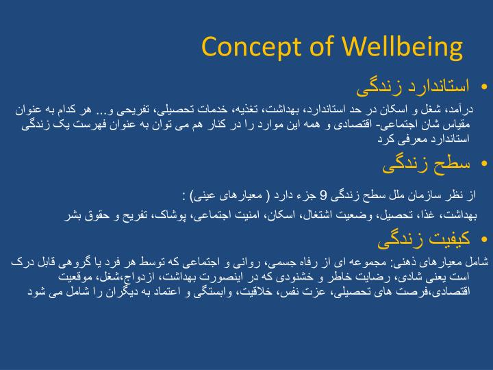 Concept of Wellbeing