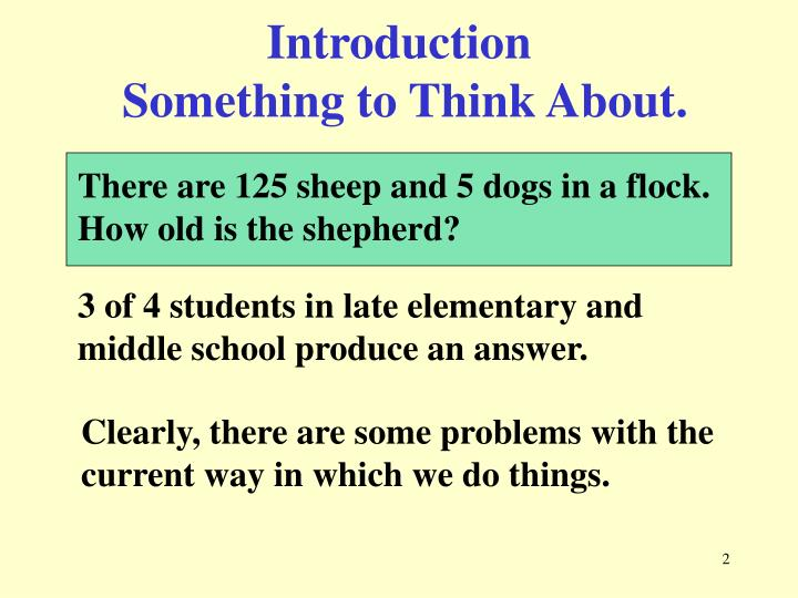 Introduction something to think about