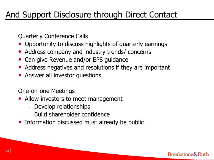 And Support Disclosure through Direct Contact