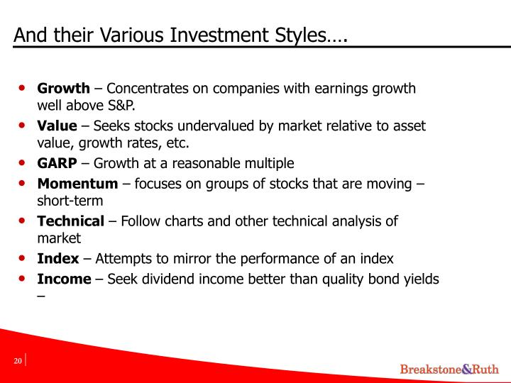 And their Various Investment Styles….