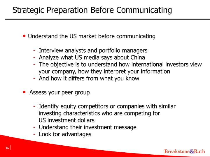 Strategic Preparation Before Communicating