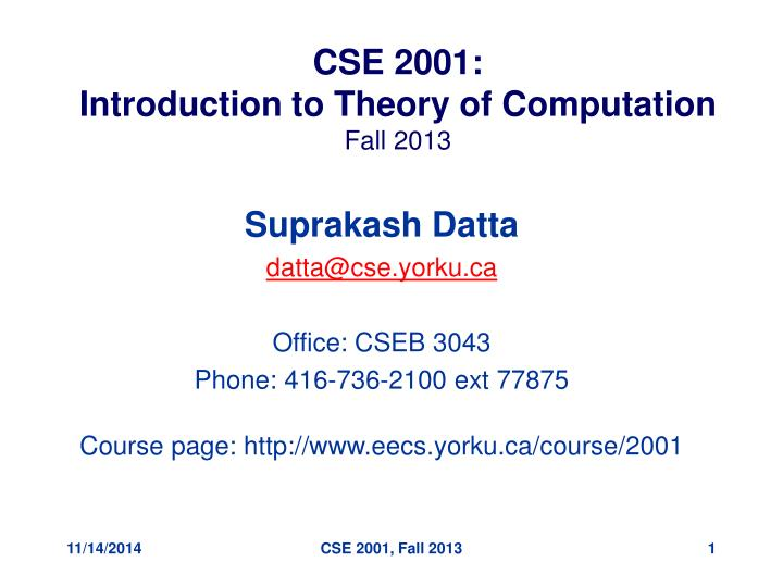 cse 2001 introduction to theory of computation fall 2013