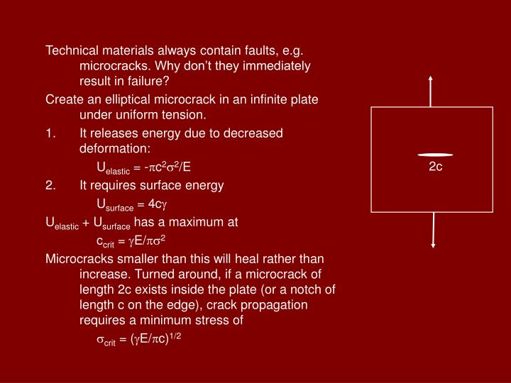 Technical materials always contain faults, e.g. microcracks. Why don't they immediately result in ...