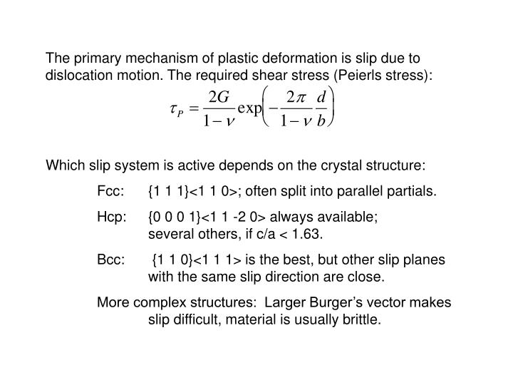 The primary mechanism of plastic deformation is slip due to dislocation motion. The required shear stress (Peierls stress):