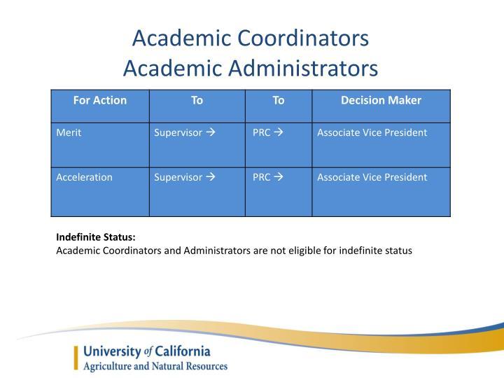 Academic Coordinators