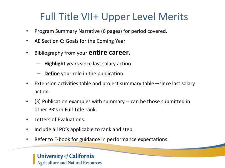 Full Title VII+ Upper Level Merits