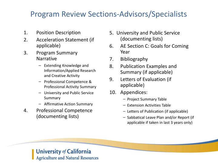 Program Review Sections-Advisors/Specialists