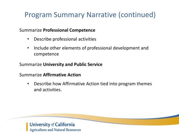 Program Summary Narrative (