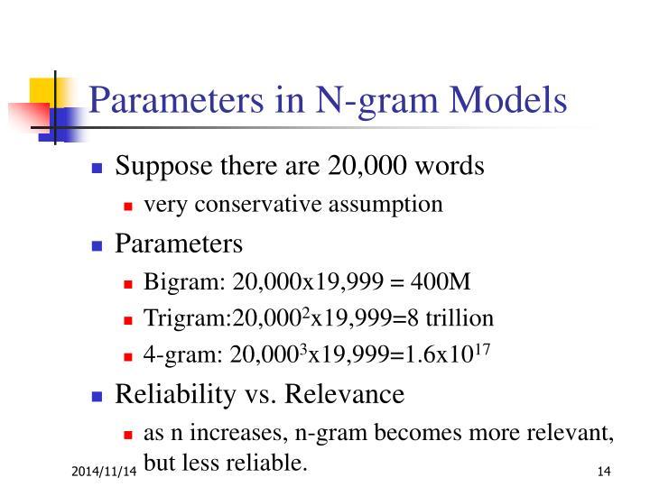 Parameters in N-gram Models