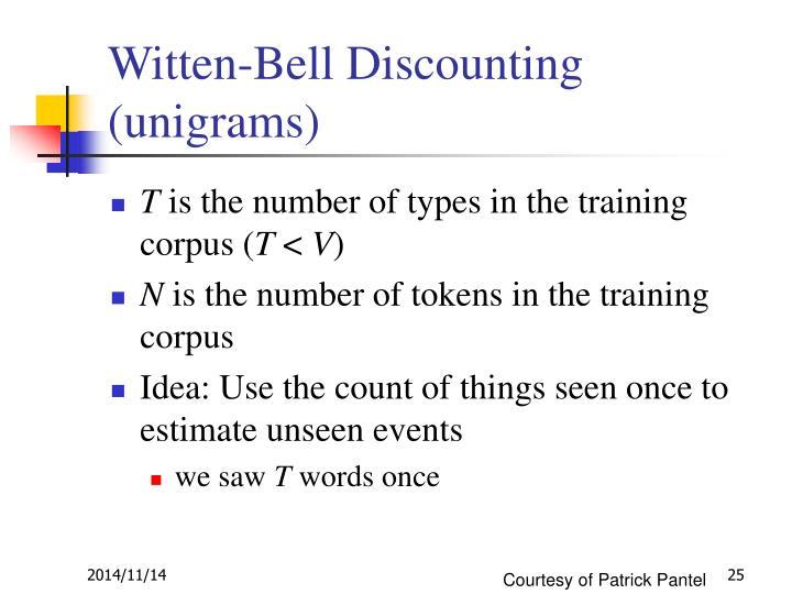 Witten-Bell Discounting (unigrams)