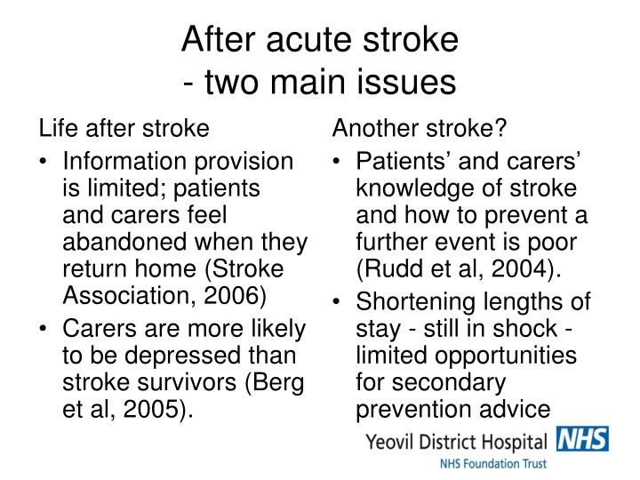After acute stroke two main issues
