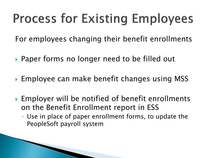 Process for Existing Employees