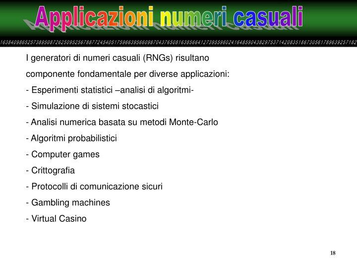 Applicazioni numeri casuali