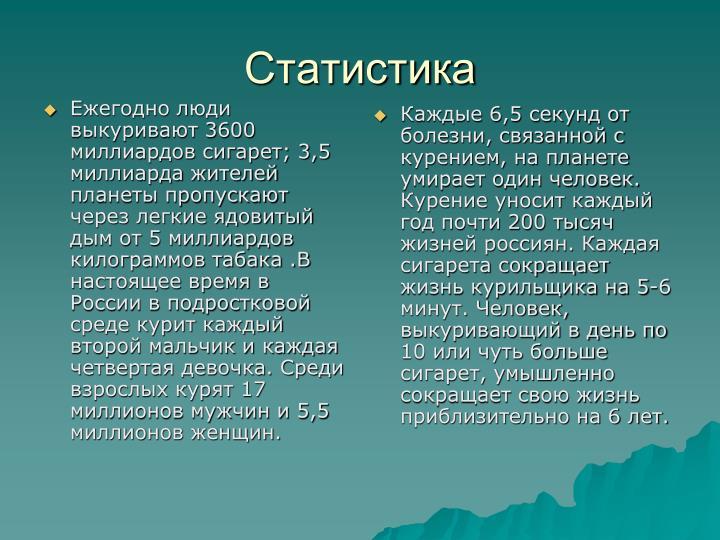 Ежегодно люди выкуривают 3600 миллиардов сигарет; 3,5 миллиарда жителей планеты пропускают через легкие ядовитый дым от 5 миллиардов килограммов табака .В настоящее время в России в подростковой среде курит каждый второй мальчик и каждая четвертая девочка. Среди взрослых курят 17 миллионов мужчин и 5,5 миллионов женщин.
