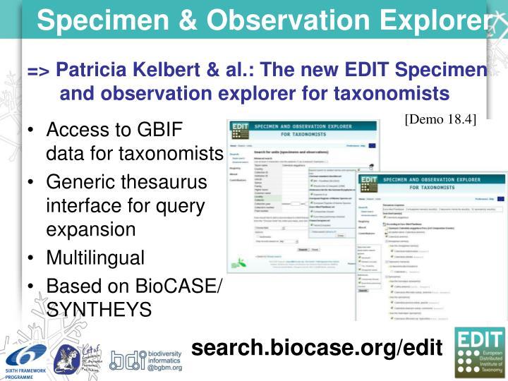 Specimen & Observation Explorer