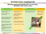 intersectoral coordination defining main responsibilities at national regional and local level