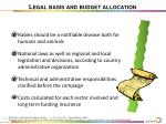 legal basis and budget allocation