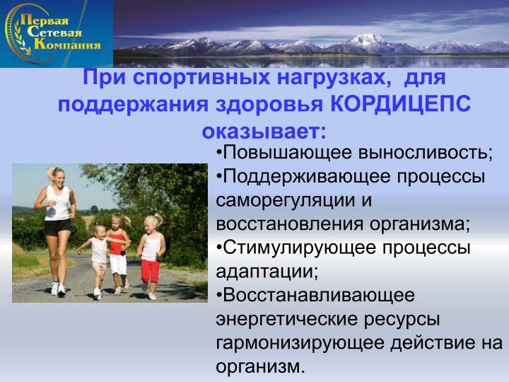 При спортивных нагрузках,  для поддержания здоровья КОРДИЦЕПС оказывает: