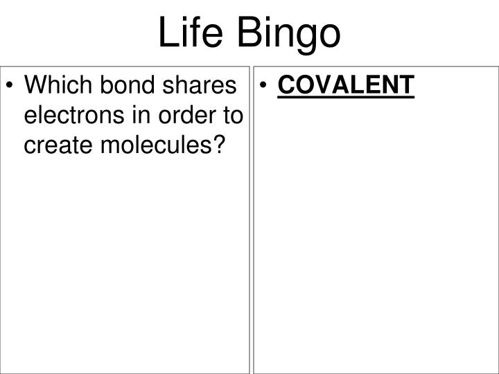 Which bond shares electrons in order to create molecules?