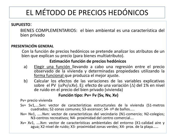 EL MÉTODO DE PRECIOS HEDÓNICOS