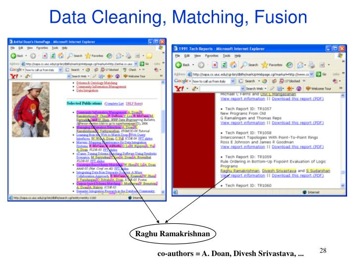 Data Cleaning, Matching, Fusion