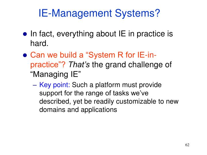 IE-Management Systems?