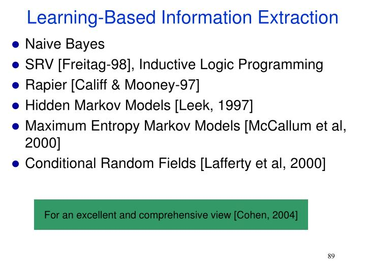 Learning-Based Information Extraction