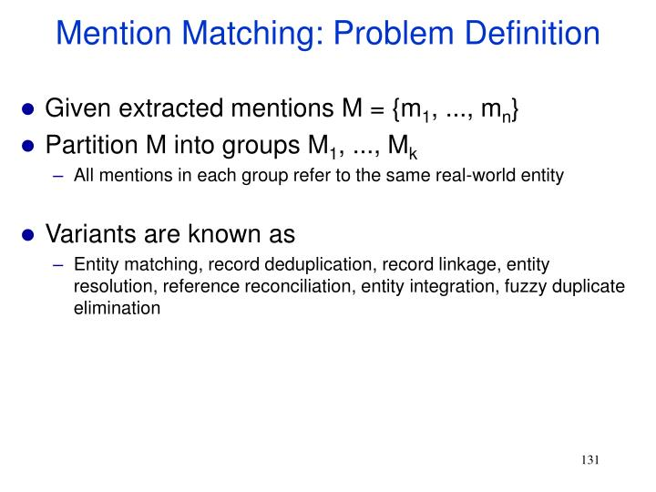 Mention Matching: Problem Definition