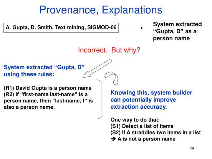 Provenance, Explanations