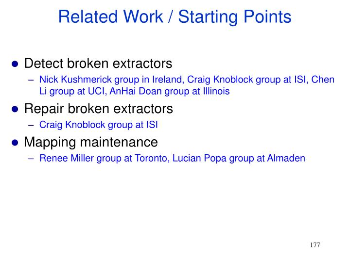 Related Work / Starting Points