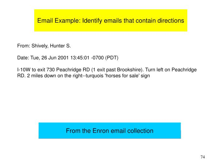 Email Example: Identify emails that contain directions