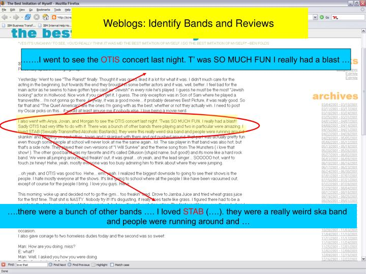 Weblogs: Identify Bands and Reviews