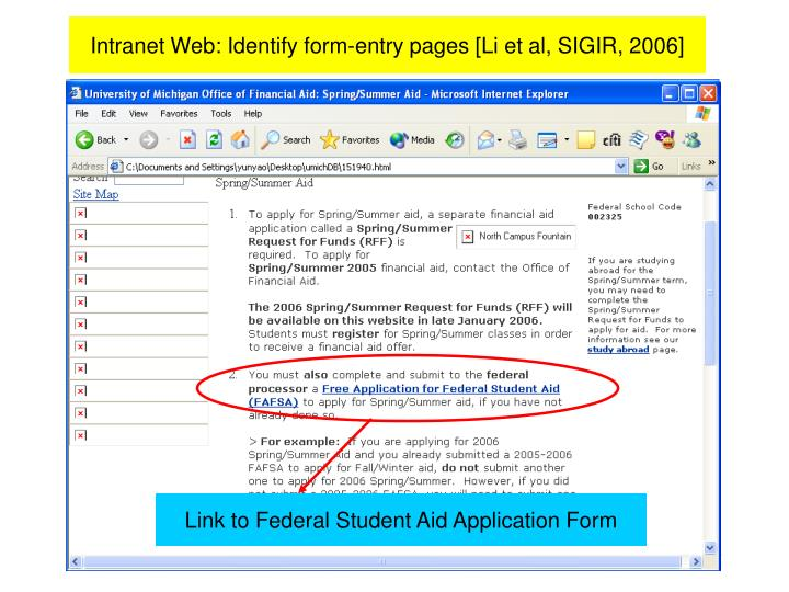 Link to Federal Student Aid Application Form
