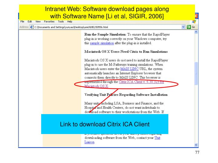 Intranet Web: Software download pages along