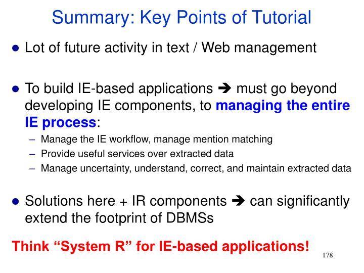 Summary: Key Points of Tutorial