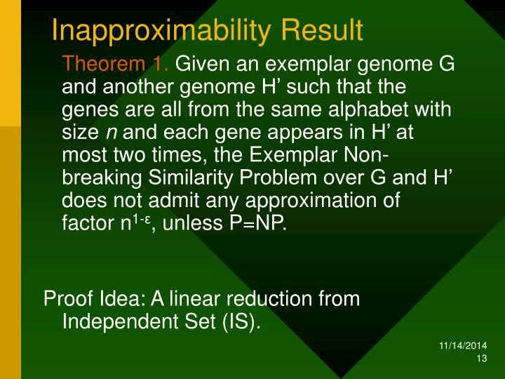 Inapproximability Result