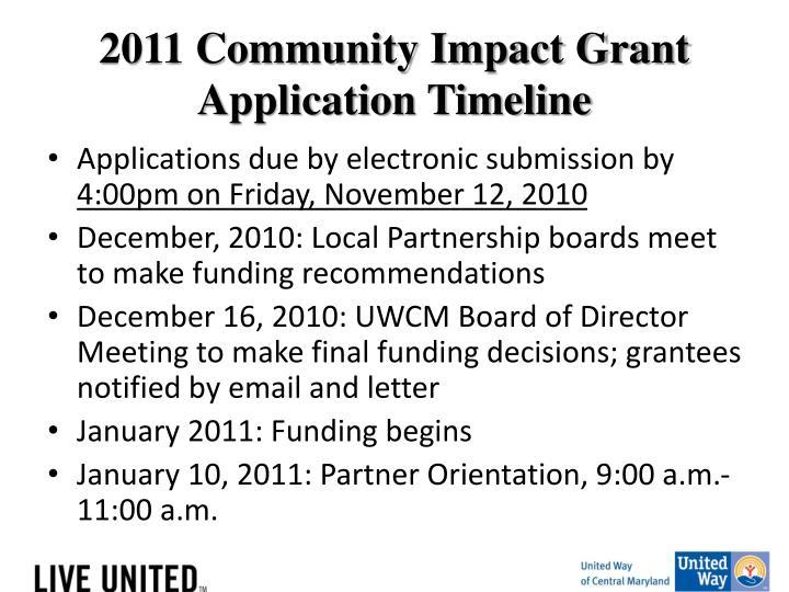 2011 Community Impact Grant Application Timeline