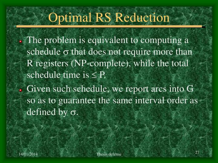 Optimal RS Reduction