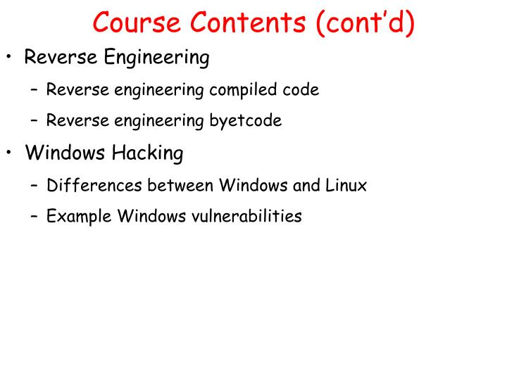 Course Contents (cont'd)