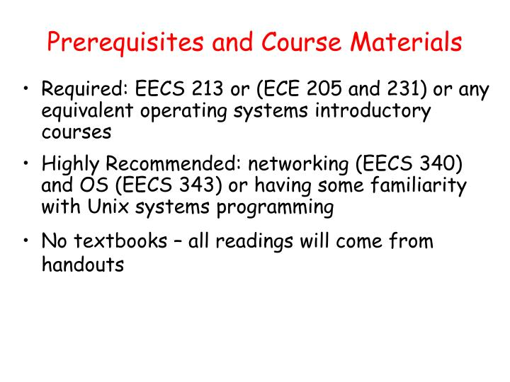 Prerequisites and Course Materials