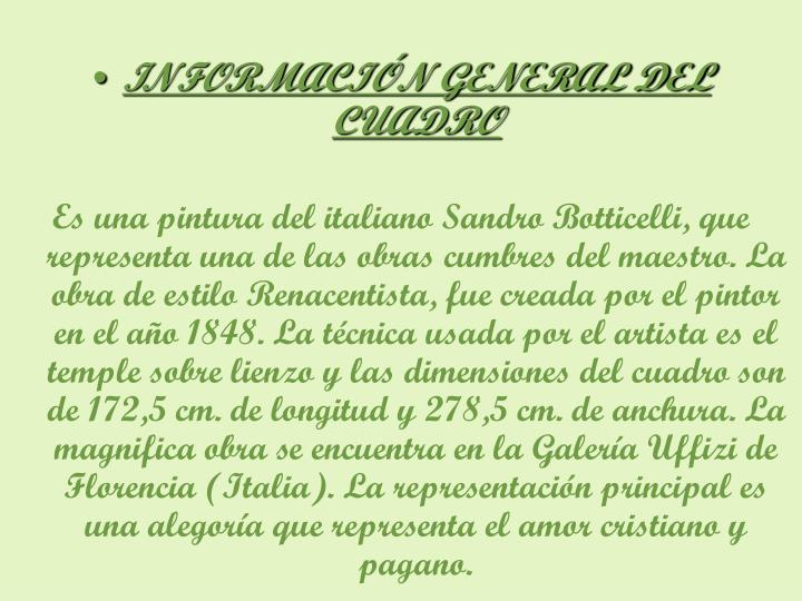 INFORMACIÓN GENERAL DEL CUADRO