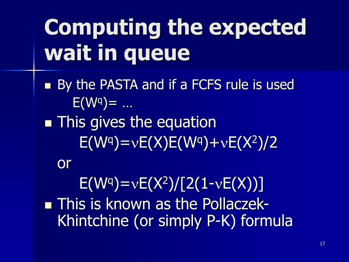 Computing the expected wait in queue