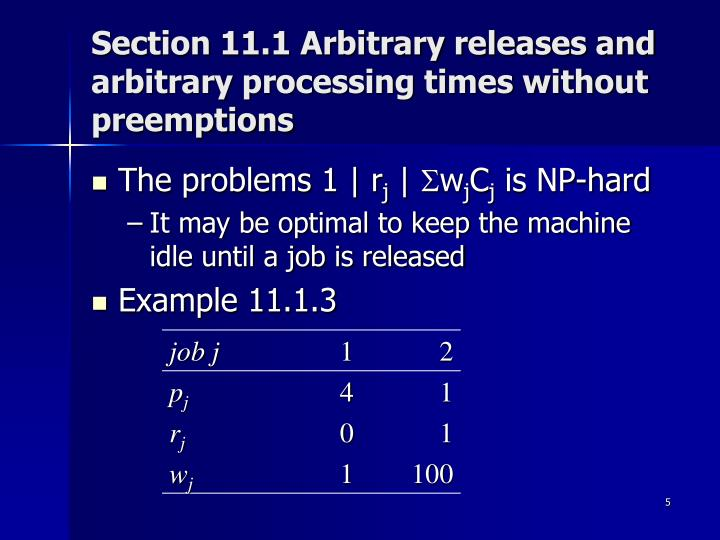 Section 11.1 Arbitrary releases and arbitrary processing times without preemptions