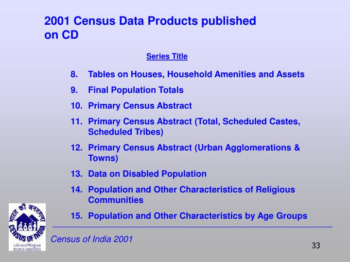 2001 Census Data Products published on CD